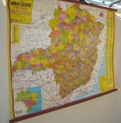 Wall Hanging Map of Brazil in Spanish