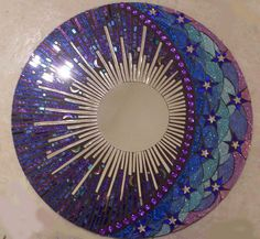 Blue and Purple Round Glitter Glass Mosaic Mirror -Celestial / Etsy/ spoiled rockin store , beautiful Stained Glass Mirror, Mirror Mosaic, Mosaic Art, Mosaic Glass, Mosaic Tiles, Mosaics, Moon Mirror, Mosaic Crafts, Mosaic Projects