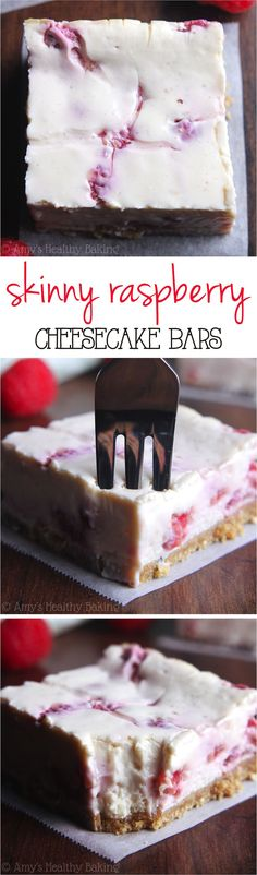 Skinny Raspberry Cheesecake Bars -- SO easy to make & packed with of protein!, Desserts, Skinny Raspberry Cheesecake Bars -- SO easy to make & packed with of protein! Only 97 calories! Healthy Deserts, Healthy Sweets, Healthy Dessert Recipes, Healthy Baking, Just Desserts, Baking Recipes, Delicious Desserts, Yummy Food, Bar Recipes