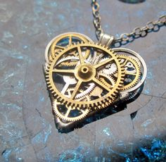 Gear Heart Necklace Intricon Clockwork by amechanicalmind on Etsy