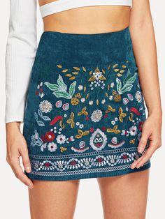 SheIn offers Botanical Embroidered - Mini Skirts - Ideas of Mini Skirts - Shop Botanical Embroidered Cord Skirt online. SheIn offers Botanical Embroidered Cord Skirt & more to fit your fashionable needs. Boho Fashion, Fashion Outfits, Womens Fashion, Feminine Fashion, Fashion Fall, Fashion Trends, Fashion Styles, Dress Fashion, Fashion Clothes
