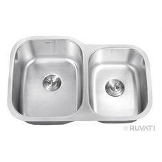 """Ruvati RVM4310 Undermount Stainlesss Steel 32"""" Kitchen Sink Double Bowl"""