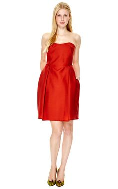 The perfect Holiday dress: Strapless Wool-Gazar Dress by Carven Now Available on Moda Operandi