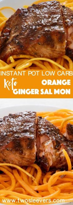 Pressure Cooker Salmon with Orange ginger sauce is a great Instant Pot low carb salmon recipe that is sure to please the whole family. Making salmon in the pressure cooker can be easy and rewarding, once you know learn the basics of Pot-in-pot cooking for seafood recipes. via @twosleevers