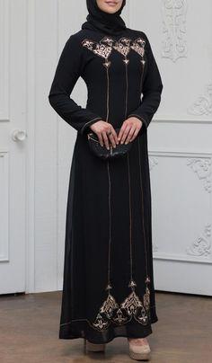 a16e93acc24a Stylish Black Modest Muslim Formal Evening Dress | Abaya Dress Artizara –  ARTIZARA.COM