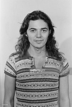 Guitarist Tommy Bolin (1951-1976) of rock group Deep Purple posed at Columbia Studios sound stage, Los Angeles, June 1975.
