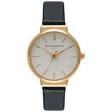 Buy Olivia Burton OB15TH01 Women's Hackney Leather Strap Watch, Black/Gold Online at johnlewis.com