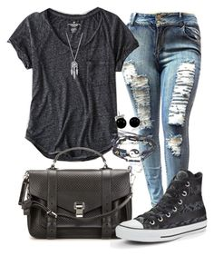 """""""Casual"""" by alice-fortuna ❤ liked on Polyvore featuring American Eagle Outfitters, Proenza Schouler, Converse, Bling Jewelry and Lucky Brand"""