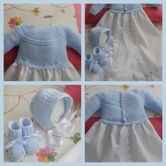 This Pin was discovered by Ama Crochet For Kids, Crochet Baby, Baby Girl Patterns, Christening Gowns, Classic Outfits, Baby Sweaters, Baby Wearing, Baby Knitting, Baby Dress
