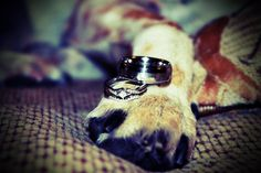Our wedding rings with the dog's paw!!! <3