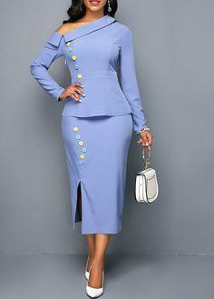 Side Slit Skew Neck Button Detail Dress