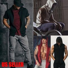 Men's Stitching Solid Hooded Casual Slim Fit Short Sleeve Muscle Top M – menstights Funky Tights, Mens Running Tights, Latest Mens Wear, Latest Clothes For Men, Sleeveless Hoodie, Mens Activewear, Man Swimming, Tank Shirt, Athletic Fashion