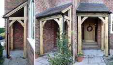 I like this brilliant photo Porch Guttering, Front Porch Pergola, Front Porch Design, Gazebo, Porch Oak, Porch Timber, Door Canopy Roof, Porch Canopy, Oak Front Door