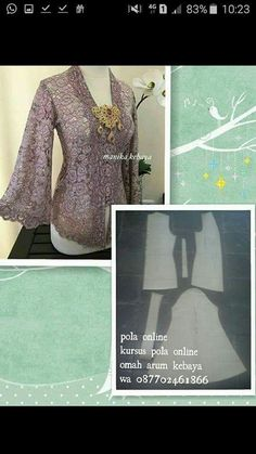 Kebaya Lace, Kebaya Dress, Batik Kebaya, Pola Kebaya Kutubaru, Kebaya Brokat, Dress Sewing Patterns, Clothing Patterns, Kebaya Kutu Baru Modern, Model Kebaya Modern