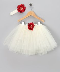 Take a look at this Cream & Red Flower Ballet Tutu & Headband - Toddler & Girls by Bella Daniella on #zulily today!