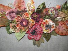 Victorian Ribbonwork Hand-dyed Floral Collage French Ribbon
