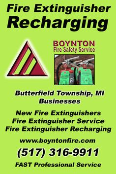 Fire Extinguisher Recharging Butterfield Township (517) 316-9911.. Local Michigan Businesses you have found the complete source for Fire Protection. Fire Extnguishers, Fire Extinguisher Service.. We're got you covered..
