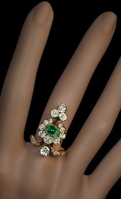 Antique Russian Diamond and Emerald Ring