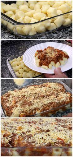 Uma deliciosa opção de refeição para almoço ou jantar fácil! #almoço #jantar #refeição #prato #salgado #nhoque #nhocao #receita #gastronomia #culinaria #comida #delicia #receitafacil
