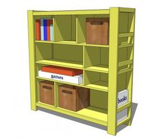 Another really useful bookshelf design. This would be great in a kid's playroom!