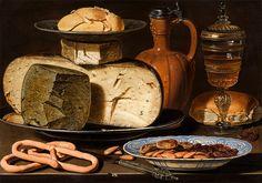 Clara Peeters: Stilleven met kazen, amandelen en krakelingen uit circa 1615.