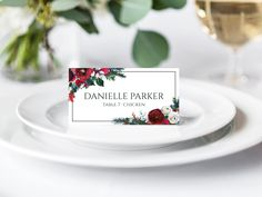 Winter Wedding Place Cards, Printable Place Cards, Christmas Place Cards, Burgundy Place Cards, Floral Place Cards, Place Card Template by LuminousPaperie on Etsy