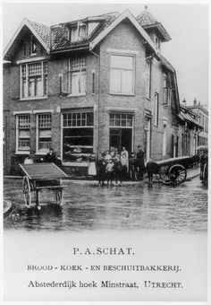 P.A. Schat Bakery circa 1902   Translation: Red Cake and Biscuit Bakery   Abstederdijk 219 on the corner with the Minstraat in Utrecht.     Grandpa Jack Schat, Sr. was one of 10 Children, six brothers, four sisters in the P.A. Schat family.