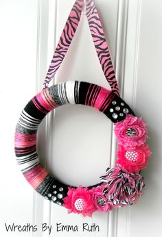 Hot Pink Zebra Yarn Wreath. via Etsy.