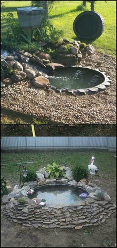Why You Should Invest In Simple Water Features For Your Home Garden – Pool Landscape Ideas Ponds Backyard, Garden Pool, Garden Paths, Tyres Recycle, Recycled Tires, Landscaping With Rocks, Pool Landscaping, Small Gardens, Outdoor Gardens