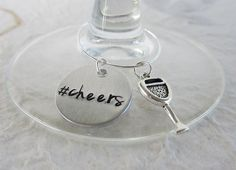 Hand Stamped Wine Charms cheers with Wine Glass by kimgilbert3