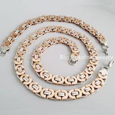 Handsome Women Girl Jewelry Set 316L Stainless Steel Silver Rose Gold Bracelet&Necklace Chain 10mm*55cm/22cm Cuban Link Chain