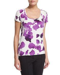 ESCADA Short-Sleeve Orchid-Print Pullover Top, Multi Colors. #escada #cloth #