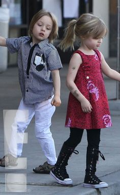 Two of a Kind from Brad Pitt and Angelina Jolie's Twins Play Outside