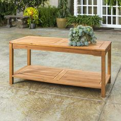 This stylish coffee table offers two levels to provide you ample storage for your outdoor accessories. Crafted from solid acacia hardwood, this table is naturally stylish yet durable to last summers to come. Set next to a loveseat or chairs on your patio or deck so you'll always have a spot to enjoy a drink or snack ou Stylish Coffee Table, Solid Wood Coffee Table, Coffee Table Rectangle, Outdoor Coffee Tables, Wood Patio, Deck Furniture, Brown Wood, Dark Brown, Wood Slats
