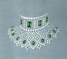 Original drawing for the Fabergé Romanov Necklace (dessin original 1885) Fabergé, the legendary master jeweller creating High Jewellery, Fine Jewellery and precious Objects honouring the genius of Peter Carl Fabergé, presents the Romanov Necklace, a magnificent contemporary emerald and diamond collar, inspired by an historic design from the House of Fabergé.