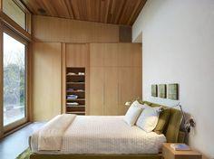 bedroom renovation design - platform bed, hidden closet storage, vaulted ceiling, wood ceiling