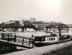 Pohled na Vyšehrad ze smíchovského zimního stanoviště lodí - přelom 80. a 90. let 19. stol