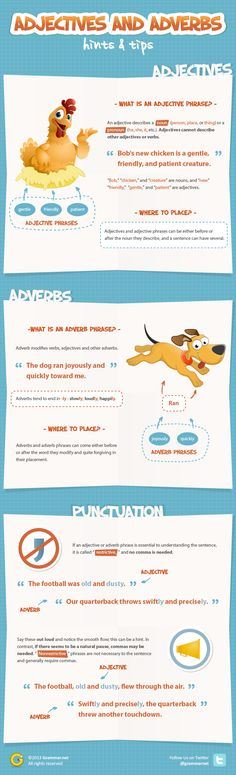 Adjective and Adverb Phrases: Hints and Tips [infographic] | Grammar Newsletter - English Grammar Newsletter