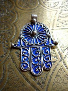 Blue enamel silver Moroccan hand of Fatima charm by HilarysBazaar