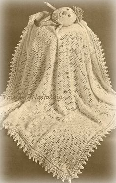 Vntg+Lacy+Baby+SHAWL+/+Blanket+Knitting+by+touchofnostalgia7,+$4.25