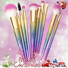 Docolor Makeup Brushes for Christmas,10Pcs Fantasy Set Foundation Powder Eyeshadow Kits -- You can find out more details at the link of the image.