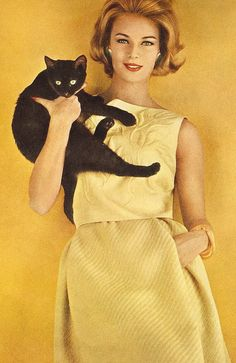 1962, Anne De Zogheb, Vogue. Being a crazy cat lady is always in Vogue.