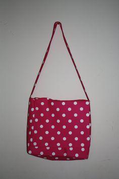 Hot Pink/White Dots Messenger/Diaper Bag   #handmade #bag #purse #sewing #diaper