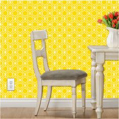 #Yellow #Wallpaper makes a great accent wall for the #nursery.
