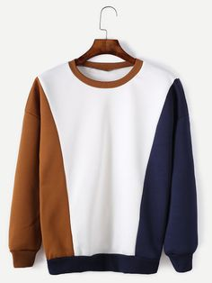 To find out about the Color Block Contrast Trim Drop Shoulder Sweatshirt at SHEIN, part of our latest Sweatshirts ready to shop online today! Cute Shirts, Casual Shirts, Casual Outfits, Cute Outfits, Fashion Outfits, Stylish Hoodies, Cool Hoodies, Modele Hijab, Mein Style