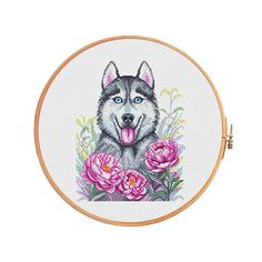 Husky in peonies  cross stitch pattern   modern cross stitch