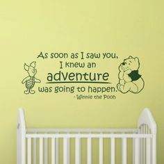 Nursery Wall Decal Quote: Winnie the Pooh Adventure Quote with Piglet Nursery Vinyl Sticker