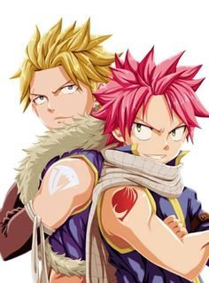 Natsu & Sting...don't you think they could be brothers or something?  They have a few things in common (like hairstyle is kinda alike, the guild mark is both on their shoulders (not like that would be counted but) etc)