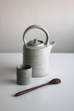 White crackle glazed teapot, waterpot and wooden spoon by @grainandknot .