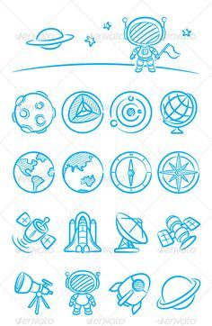 Astronomy Zeichnung Space And Astronomy Doodle Drawings, Doodle Art, Icon Set, Icon Design, Design Ios, Flat Design, Business Icons, Space And Astronomy, Astronomy Crafts